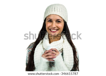 Smiling woman holding white cup on white screen