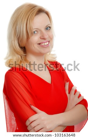 smiling woman in a red blouse with a white background