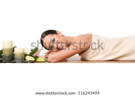 smiling woman in a spa - stock photo