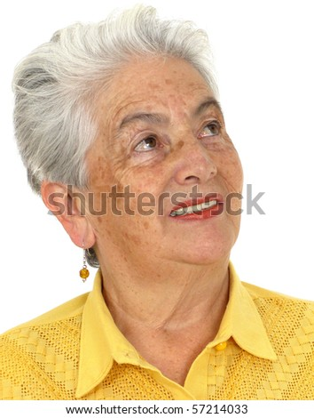 Smiling woman in a yellow shirt against a white background - stock photo