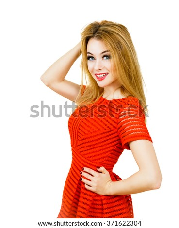 Smiling Woman in Red Dress Isolated on White