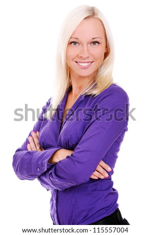 Smiling woman in violet shirt over white background - stock photo
