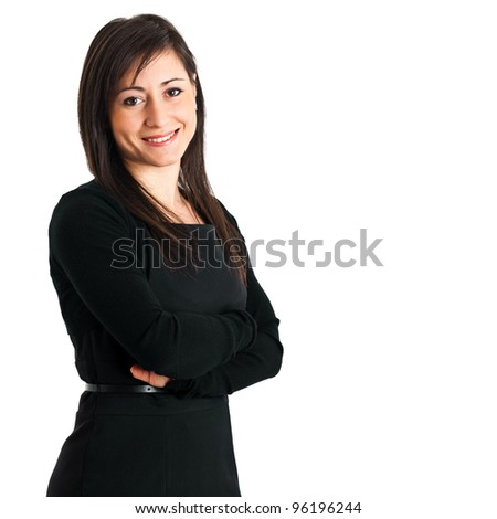 Smiling woman isolated on white - stock photo