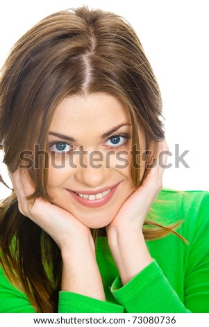 Smiling woman - isolated over white background . Portrait with hands . Closeup - stock photo