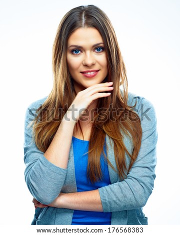 Smiling woman isolated white background. Young female model isolated.