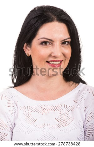 Smiling woman looking at camera isolated on white background - stock photo