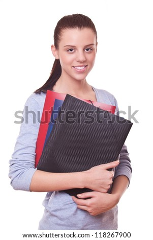 smiling woman manager or bookkeeper with folders and documents - stock photo