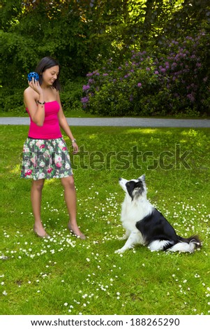 Smiling woman playing fetch the ball with her border collie dog - stock photo