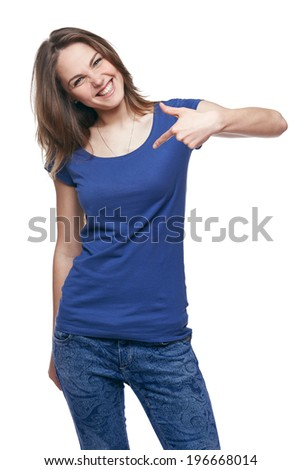 Smiling woman pointing at herself cheering happy - stock photo