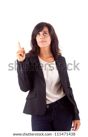 Smiling woman pointing up - stock photo