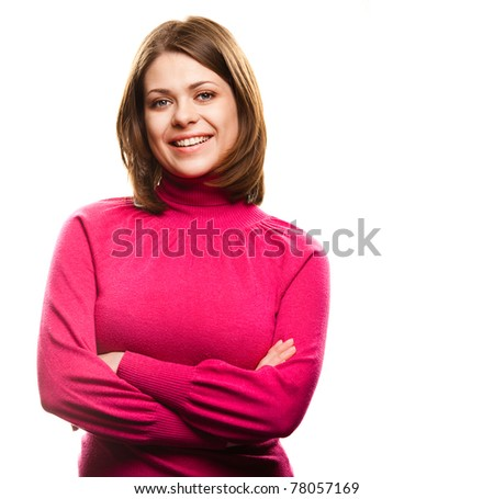 Smiling woman portrait . Isolated on white background - stock photo