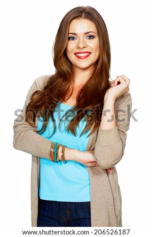 Smiling woman portrait isolated on white background. Crossed arms.