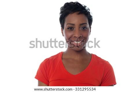 Smiling woman posing over white - stock photo