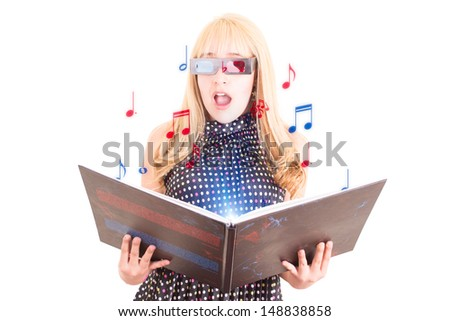 Smiling woman reading a book with 3d glasses music concept - stock photo