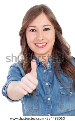 Smiling woman saying Ok isolated on a white background