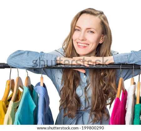 Smiling woman shopping in retail store isolated on white background - stock photo