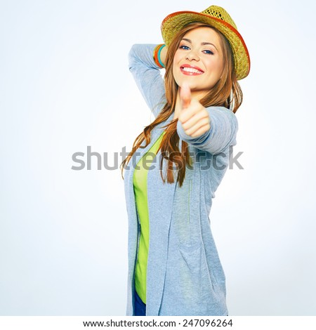 Smiling woman show thumb up isolated on white background. - stock photo