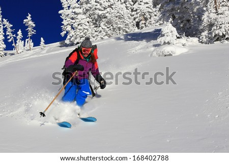 Smiling woman skiing fresh powder snow in the Utah mountains, USA. - stock photo