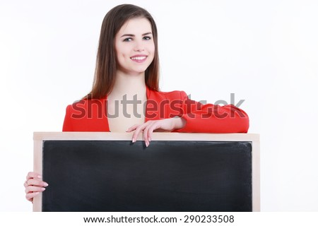 Smiling woman standing with billboard