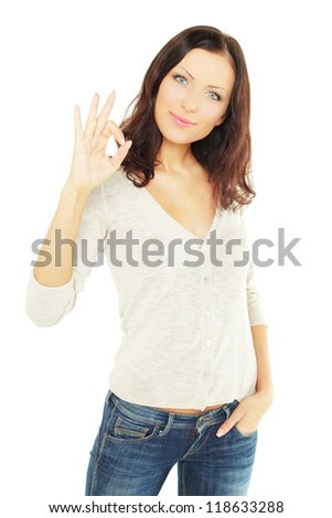 Smiling woman student with ok sign, isolated on white background - stock photo