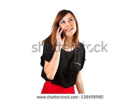 Smiling woman talking by mobile phone, on white background