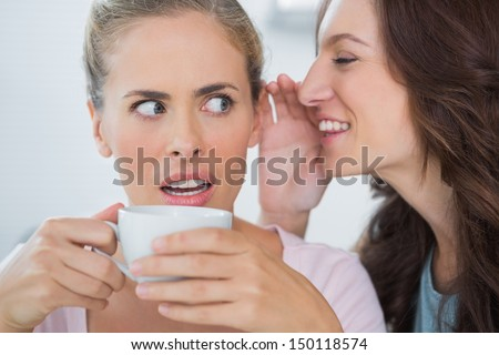 Smiling woman telling secret to her friend while drinking coffee - stock photo