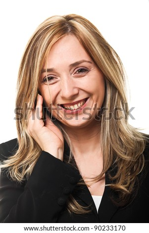 smiling woman use mobile closeup portrait