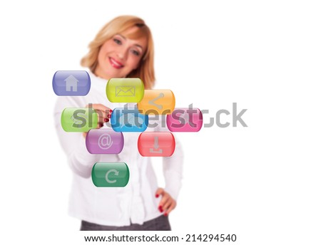 Smiling woman using touch screen interface - stock photo