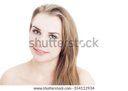 Smiling woman wearing daytime makeup isolated on white background