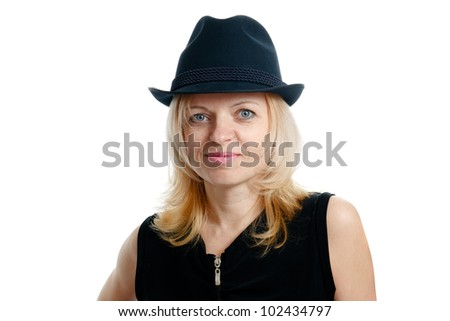 smiling woman with a black hat and black shirt on white background