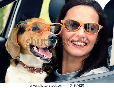 Smiling Woman with beagle dog in  car. Toned
