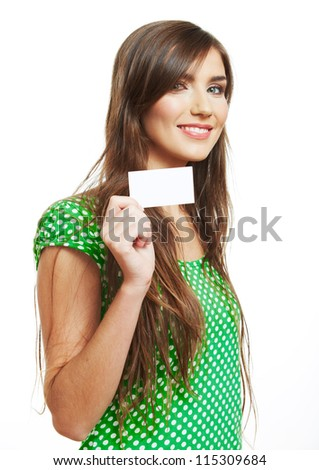 Smiling woman with  big blank board . Close up female face portrait with blank card.