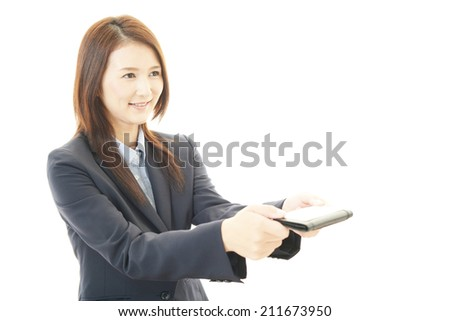 Smiling woman with business card