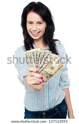 Smiling woman with cash isolated on white background.