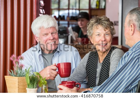 Smiling woman with friends in a coffee house - stock photo
