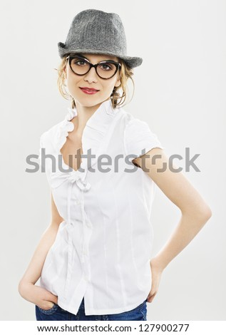 Smiling Woman With Glasses And Red Lipstick . Professional make-up