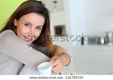 Smiling woman with happy look on her face