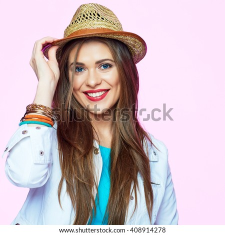 Smiling woman with hat isolated portrait. Beauty fashion style. Close up.  - stock photo