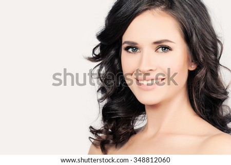 Smiling Woman with Healthy Skin and Hair. Skin Care concept