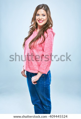 Smiling woman with long hair casual dressed. Long curly hair. - stock photo