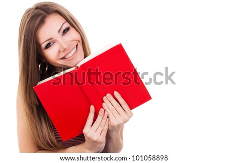 Smiling woman with red book - stock photo