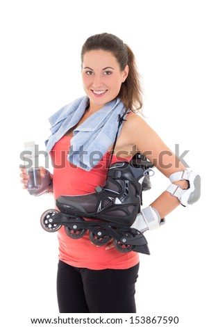 smiling woman with roller skates isolated on white