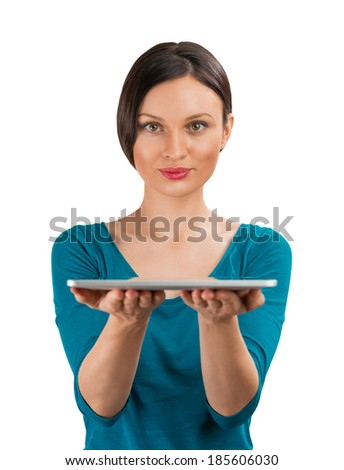 Smiling woman with tablet computer isolated on white background. Raw for your design