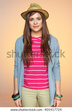Smiling woman yellow isolated portrait. Youth style. - stock photo