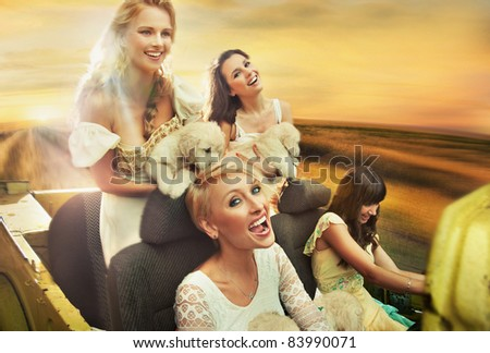 Smiling women driving a car - stock photo