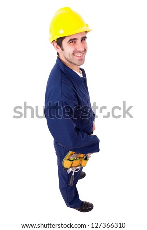 Smiling worker full lenght, isolated on white - stock photo