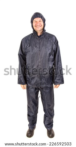 Smiling worker in rain coat. Isolated on a white background.