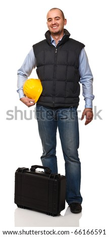 smiling worker with black case and helmet on white - stock photo
