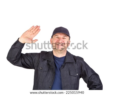 SMiling worker with open palm. Isolated on a white background. - stock photo