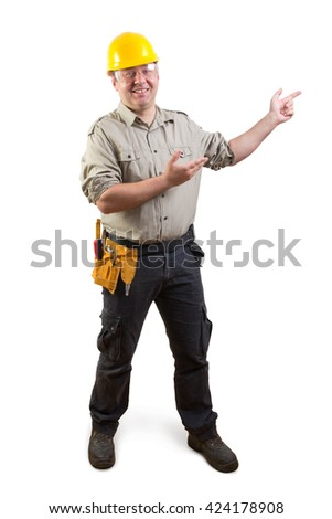 smiling worker with presenting gesture, clipping path included - stock photo